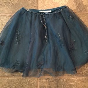 Zara girls sz 5/6 teal green skirt with fireflies.